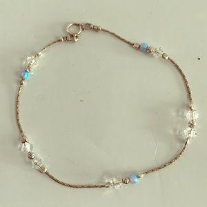 Dainty Blue Opal Sterling Silver .925 Bracelet